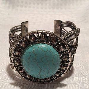 Cuff bracelet with turquoise accent